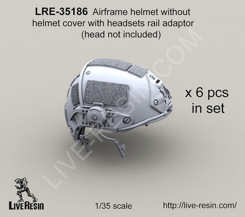 Live Resin 1/35 LRE35186 Airframe helmet no cover with headsets rail adaptor