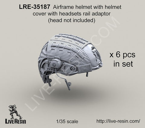 Live Resin 1/35 LRE35187 Airframe helmet w/cover & headsets rail adaptor