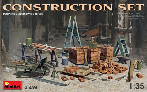 MiniArt 1/35 Construction set: ladders, table, buckets, bricks, cart, anvil, etc #35594