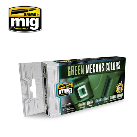 AMMO by MiG Acrylics Set 6 jars 17mL GREEN MECHAS COLORS - AMIG7149