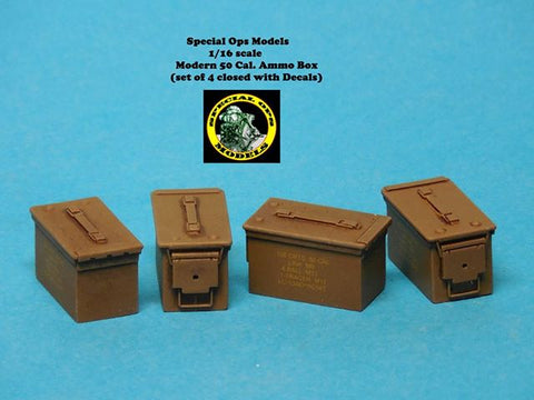 Special Ops 1/16 Modern Equipment Miniature 0.50 Cal Ammo Boxes closed w/decals