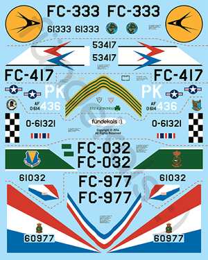 Fundekals 1/48 scale decals for Convair F-102A Delta Dagger kits pt 2 - FUN48006