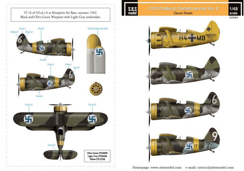 SBS Model 1/48 decal Polikarpov I-153 Chaika Finnish Air Force WWII Vol II. - D48004