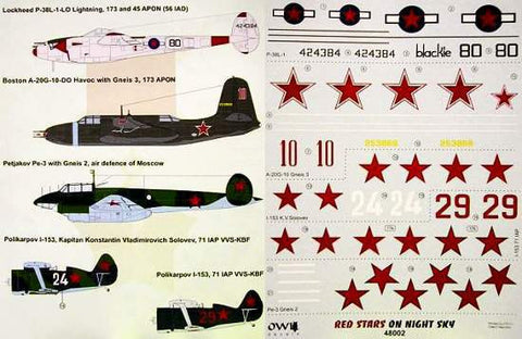 1/48 Owl decals for P-38L - Red Stars on Night Sky - OWLD48002