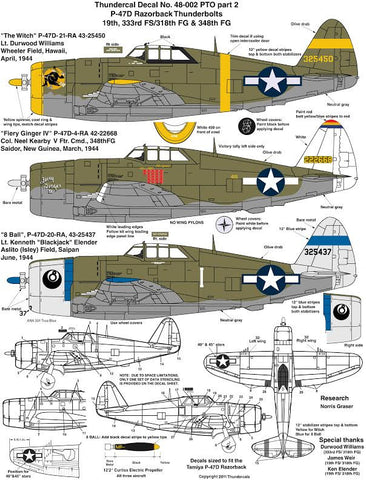 ThunderCals 1/48 P47-D Razorback #48-002 Pacific Theatre  Pt2 Neal Kearby's