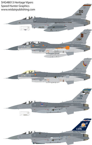 Speed Hunter Graphics 48013 1/48 decal F-16 Heritage Vipers for Tamiya