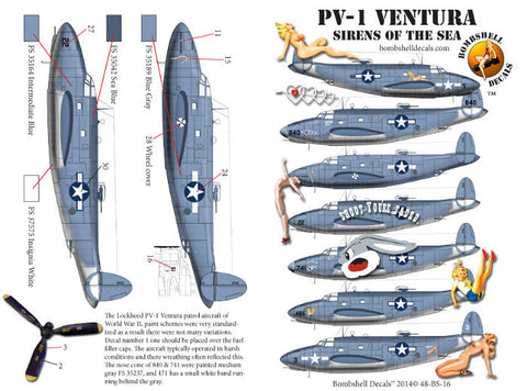 Bombshell 1/48 decals Lockheed PV-1 Ventura Sirens of the Sea - 48-BS-0016