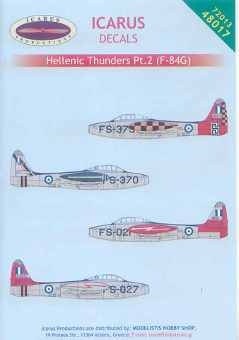 Icarus 1/48 decal Republic F-84G Thunderjets - Hellenic AF Pt.2 #48017