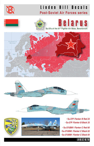 Belarusian Flankers Sukhoi Su-27 Baranovichi decal 1/48 Linden Hill LHD48034