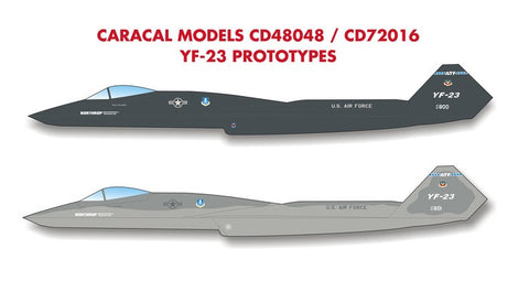 Caracal Models 1/48 decals CD48048 YF-23 Prototypes for Hobby Boss