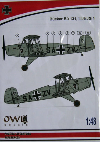 1/48 Owl Decals - stencils for Bucker Bu 131 III./NJG 1 - OWLDS48014