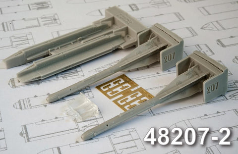 Advanced Modeling 1/48 resin R-60 Short missile & P-62-II launchers- AMC48207-2