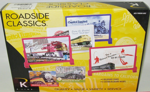 K-Line Roadside Classics O Scale RR Billboards 6 inserts and 4 frames K-41876A