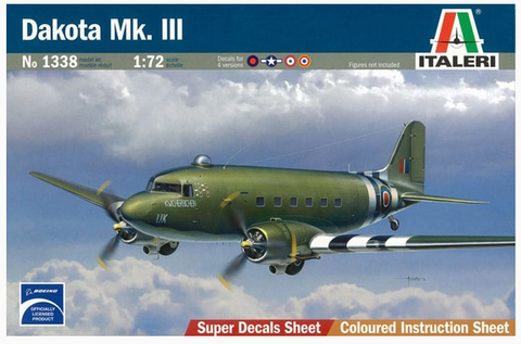 Italeri 1/72 scale aircraft kit 1338 Dakota Mk.III w/Super Decals Sheet - NOS
