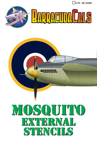 BarracudaCals 1/32 scale Mosquito External Stencils - BC32268 decals