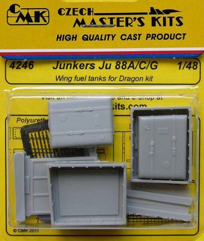 CMK 1/48 Junkers Ju 88A/C/G Wing resin fuel tanks for DRAGON kit - 4246