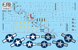 Fundekals 1/48 scale Stencils for P-51D/K Mustang kits - FUN48001