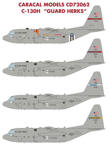 Caracal Models 1/72 decal CD72062 for C-130H Guard Herks aircraft kits
