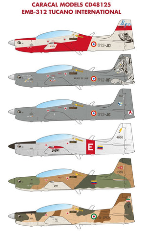 Caracal Models 1/48 decal EMB-312 Tucano International for Hobby Boss - CD48125
