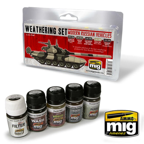 Ammo Mig Jimenez 5 jars 35ml MODERN RUSSIAN VEHICLES WEATHERING SET - AMIG7147