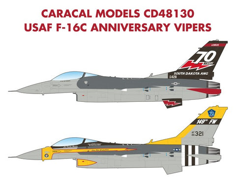 Caracal Models 1/48 decal CD48130 - USAF F-16C Anniversary Vipers
