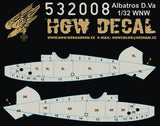 HGW 1/32 wood decals Albatros D.V/D.Va - Base White Wingnut Wings #532008