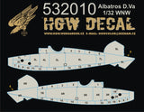 HGW 1/32 wood decals yellow/transparent Albatros D.Va Wingnut Wings 532010