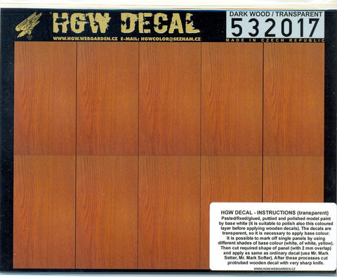HGW 1/32 Dark Wood (transparent) decals for Wingnut Wings #532017