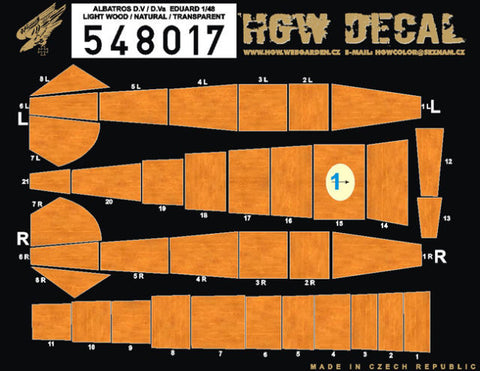 HGW 1/48 wood decals lt wood natural Albatros D.V/D.Va for Eduard 548017