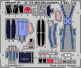 Eduard 1/32 Zoom Photoetched MiG-29A seatbelts STEEL for Trumpeter kit - 33175