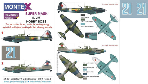 Montex 1/32 masks & markings for Ilyushin IL-2M for Hobby Boss - K32352
