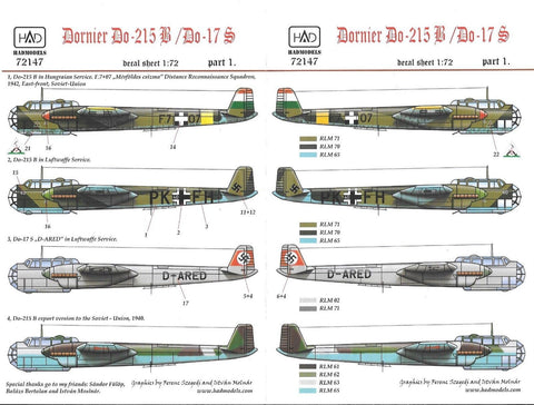 HAD Models decals 1/72 Dornier Do-215B/ Do 17S part 1 - #72147