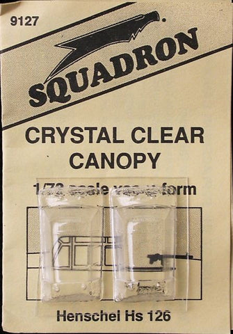 Squadron 1/72 Crystal Clear Canopy Henschel Hs 126 - #9127