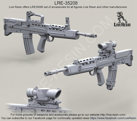 Live Resin 1:35 L85A1 SA80 Assault Rifle with iron sight and SUSAT scope