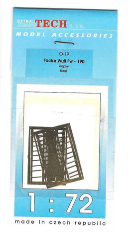 Extra Tech s.r.o 1/72 Model Accessories Focke Wulf Fw - 190 klapky flaps - O-19