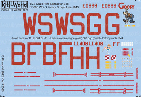 Kits-World 1/72 Decal Sheet Avro Lancaster - KW172065