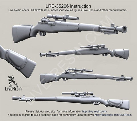 Live Resin 1:35 M1C Garand sniper Rifle with M82 Scope - LRE35206
