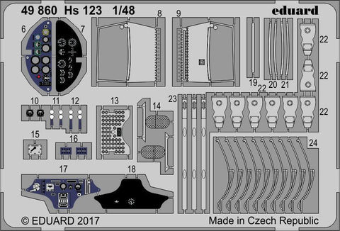 Eduard 1/48 Photoetch detail set for the Hs 123 kit by GasPatch - 49860