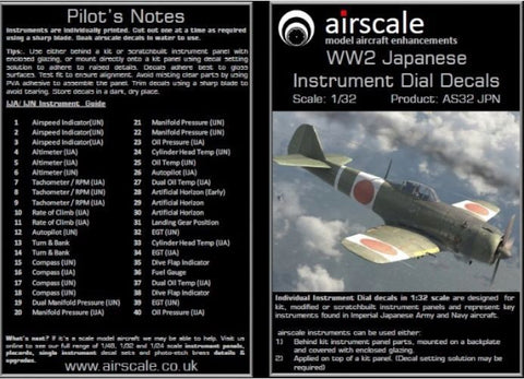 Airscale 1/32 WWII Japanese Cockpit Instrument Decal - AS32JPN