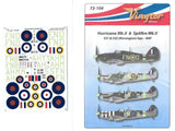 Vingtor Decals 1/72 Hurricane Mk.II and Supermarine Spitfire Mk.V - #72-104