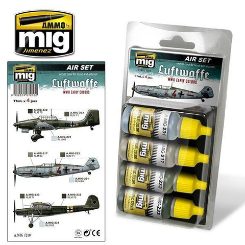 Acrylic Paint Set Luftwaffe WWII Early Colors A.MIG 7210  Ammo Mig Jimenez
