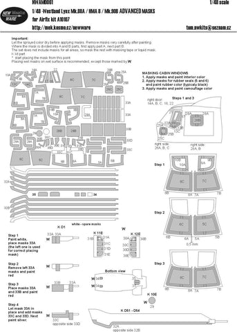 New Ware 1/48 Advanced paint masks set for Westland Lynx Mk.88A/HMA.8 for Airfix