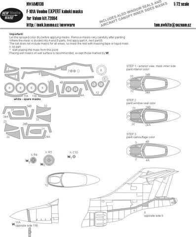 New Ware Mask 1/72 F-101A Voodoo EXPERT kabuki for Valom kit 72094 - NWAM0138