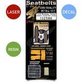 HGW 1/32 scale P-51D Mustang seatbelts wooden floor & dinghy for Tamiya - 132586