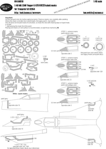 New Ware Mask 1/48 MiG-23MF Flogger-B ADVANCED kabuki for Trumpeter kit 02854