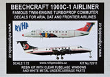 RVHP Models 1/72 Resin kit Beechcraft 1900C-1 (Aria, Dat, Frontier Airlines)