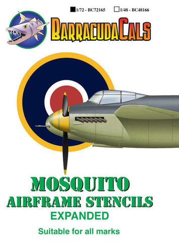 Barracuda Cals 1/72 Mosquito Airframe Stencils - Expanded BC72165