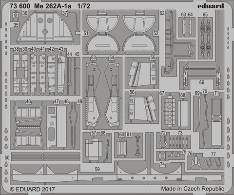 Eduard 1/72 Photoetch Me 262A-1a Color Detail Set for Airfix - 73600