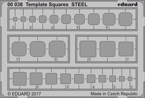 Eduard Multi-Scale Photoetched Template Squares STEEL - 00038