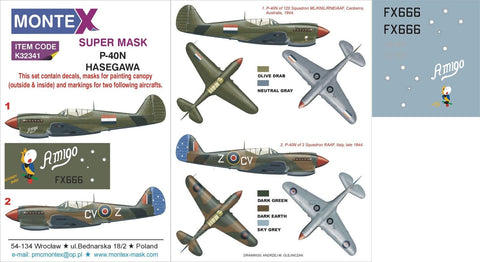 Montex 1/32 masks & markings for Curtis P-40N for Hasegawa - K32341